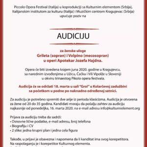 Аудиција за женску улогу у опери Апотекар