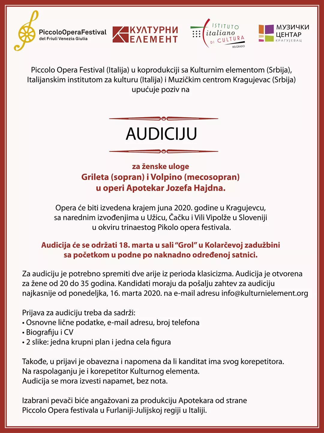 Audition for a female role in the opera The Pharmacist (Lo Speziale)